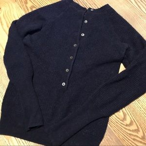 J Crew navy 100% cashmere button sweater size xs